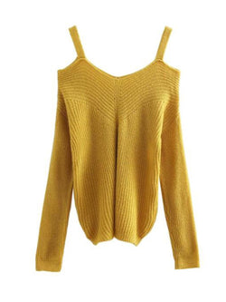 Goodnight Macaroon 'Tweety' Cut-Out Shoulder Sweater Front
