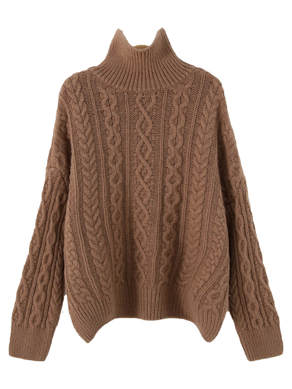 'Caroline' Turtleneck Cable Neck Sweater (5 Colors)