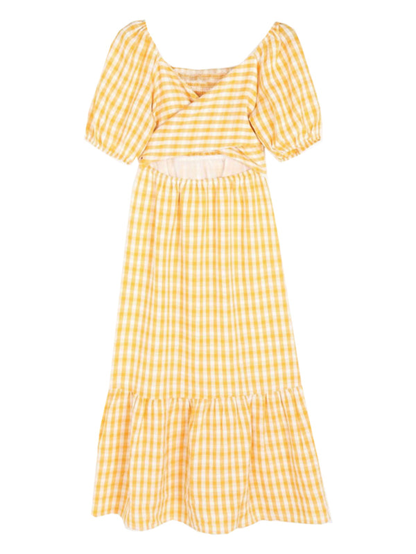 'Charlotte' Checked Cutout Midi Dress