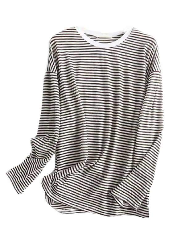 'Cheryl' Basic Striped Long Sleeves Top