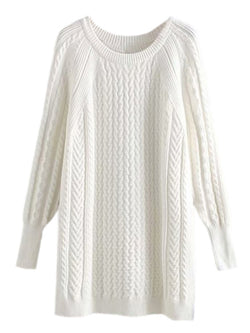 'Cayla' Crewneck Cable Knit Sweater Dress