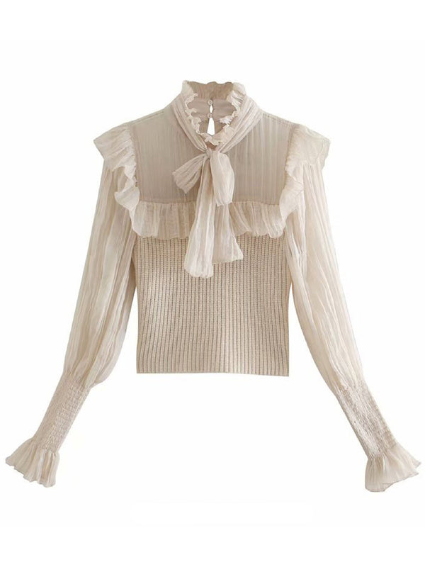 'Kary' Ruffle Ribbed Blouse with Bow