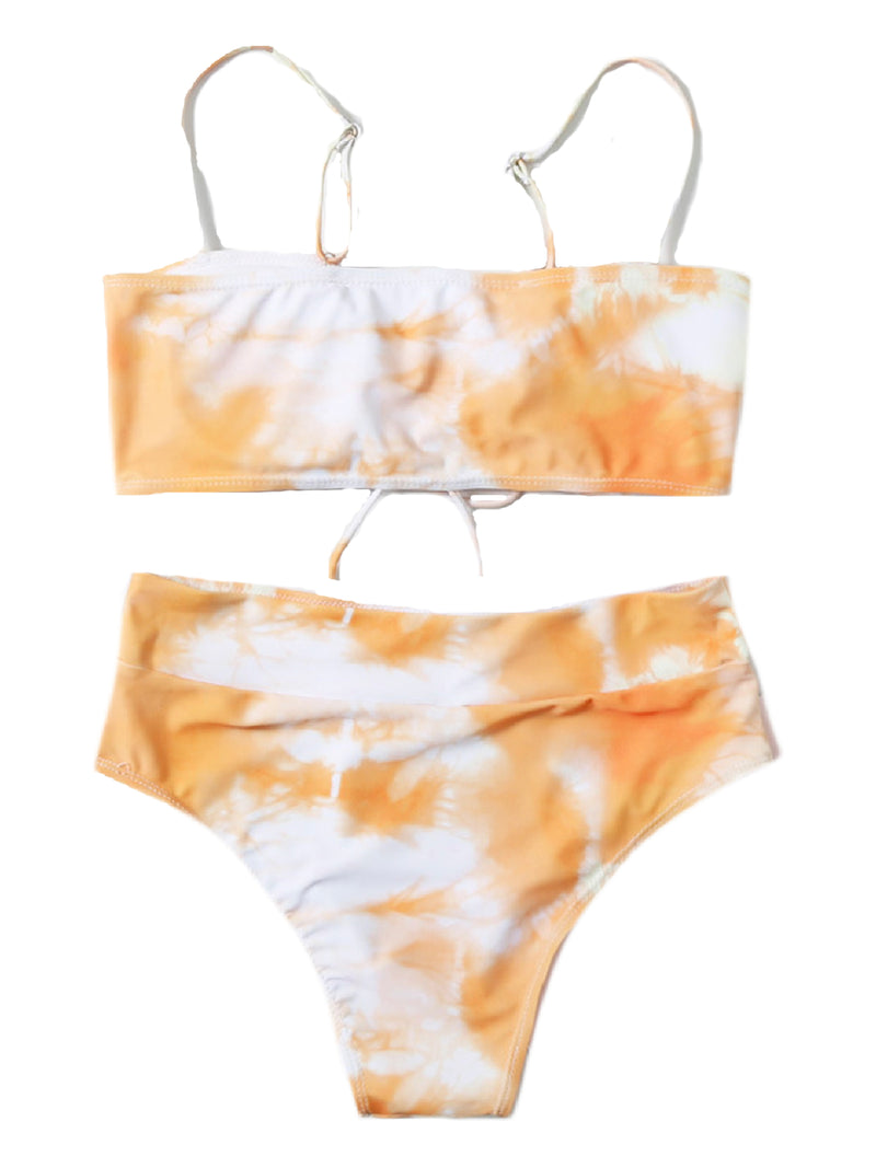 'Krista' Tie Dye Lace Up Bikini Set