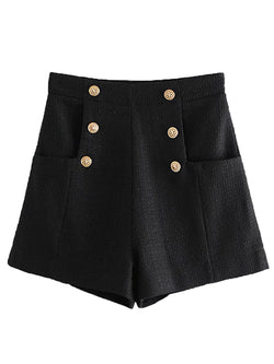'Eliana' Buttoned Tweed Material Shorts