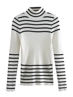 'Joely' Striped Thin Ribbed Knit Turtleneck Sweater (2 Colors)