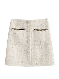 'Serena' Tweed Pearl Button Mini Skirt (2 Colors)