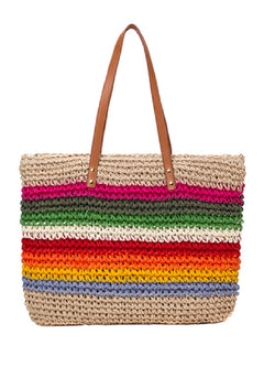 'Joy' Rainbow Knitted Beach Bag