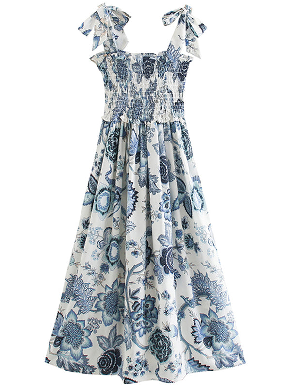 'Bailey' Floral Tied Strap Ruched Maxi Dress