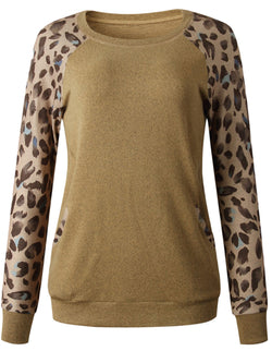 'Alexa' Leopard Print Sleeves Pocket Pullover (3 Colors)
