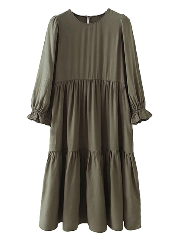 'Tara' Olive Ruffle Pleated Midi Dress