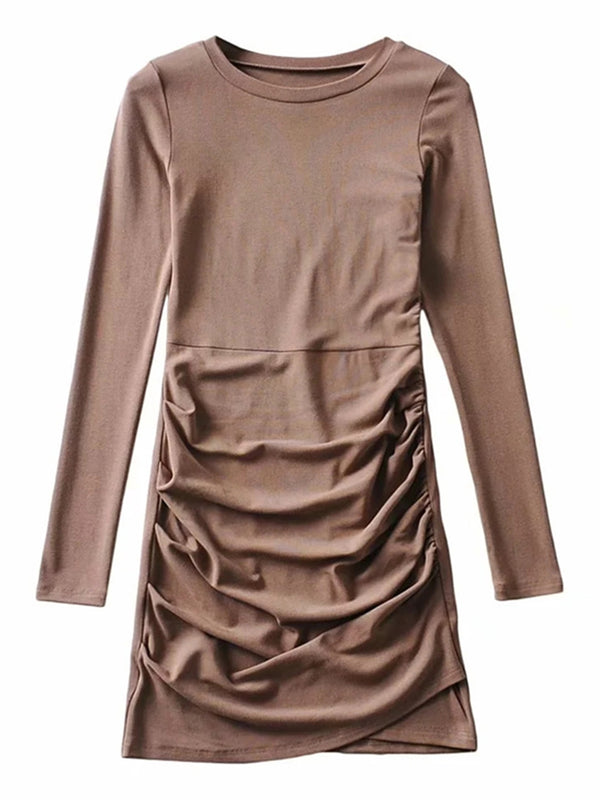 'Kristy' Crewneck Ruched Mini Dress (3 Colors)