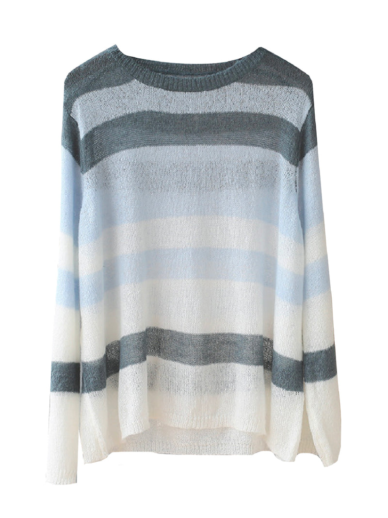 'Bethany' Brown Stripes Mohair Crewneck Sweater (2 Colors)