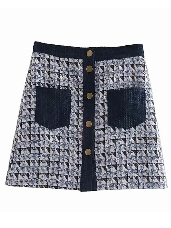 'Amelia' Tweed Plaid Buttoned Pocket Mini Skirt