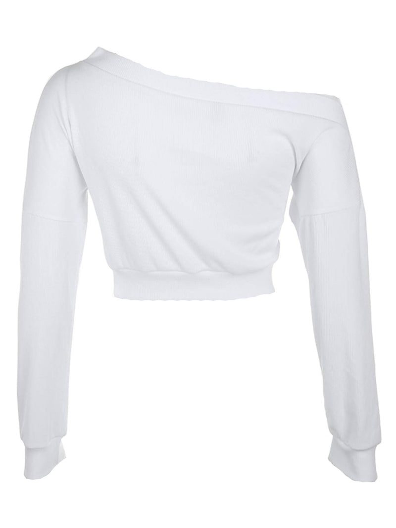 'Christine' Single Shoulder Twist-Front Cropped Top