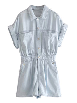 'Maya' Front Pockets Buttoned Denim Romper