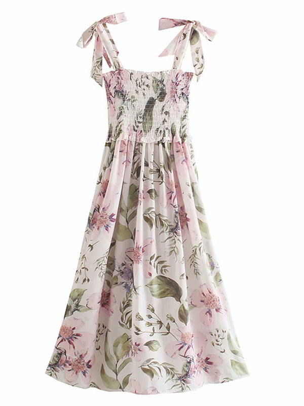 'Rosie' Floral Tied Strap Ruched Maxi Dress