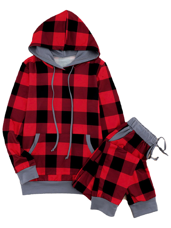 'Marci' Plaid Red Hoodie PJ Set