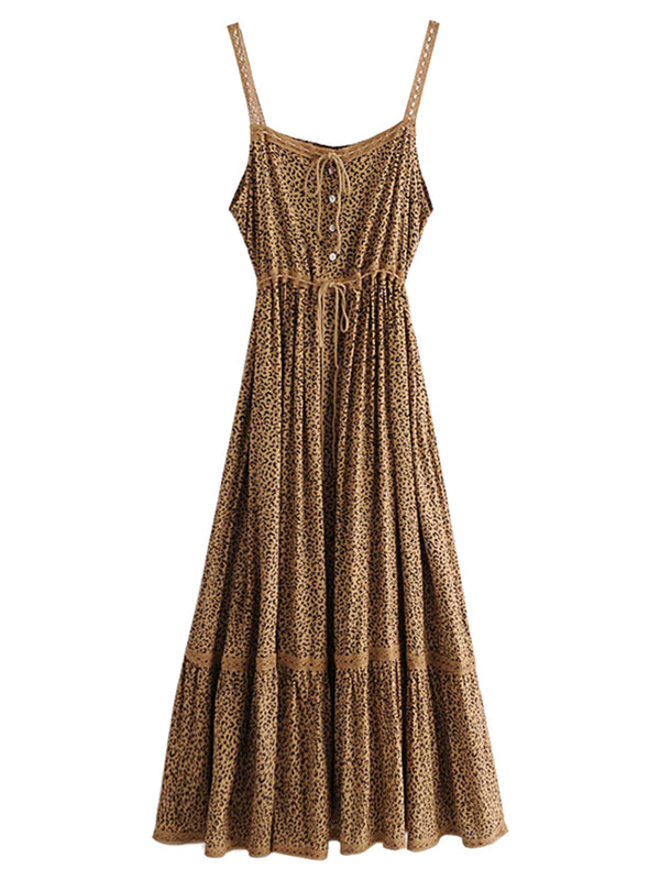 'Stephanie' Leopard Printed Crochet Maxi Dress