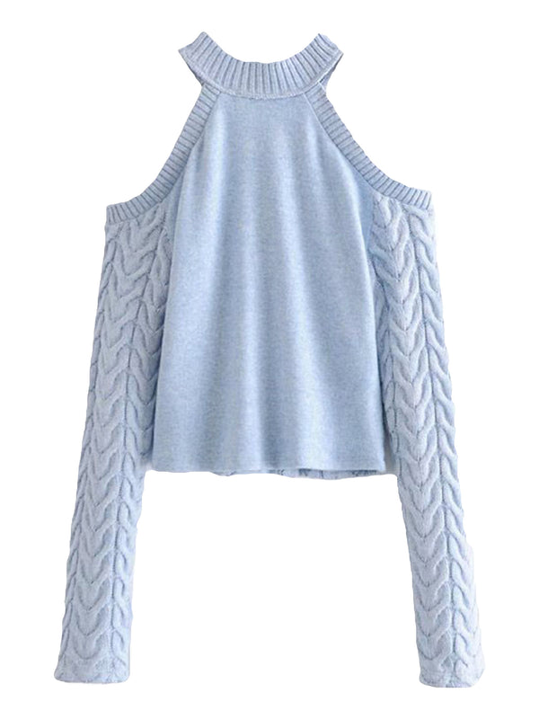 'Leilani Halter Neck Cable Knit Sweater