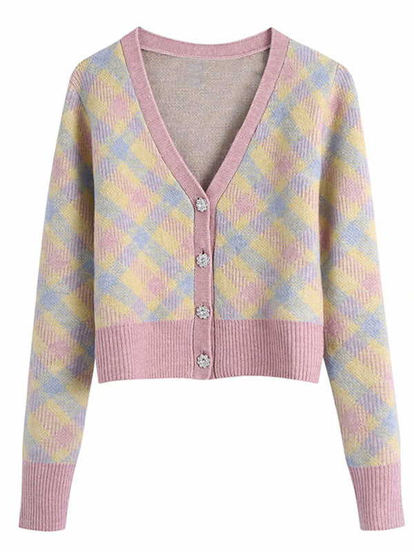 'Emily' Multi-color Checked Button Down Cardigan