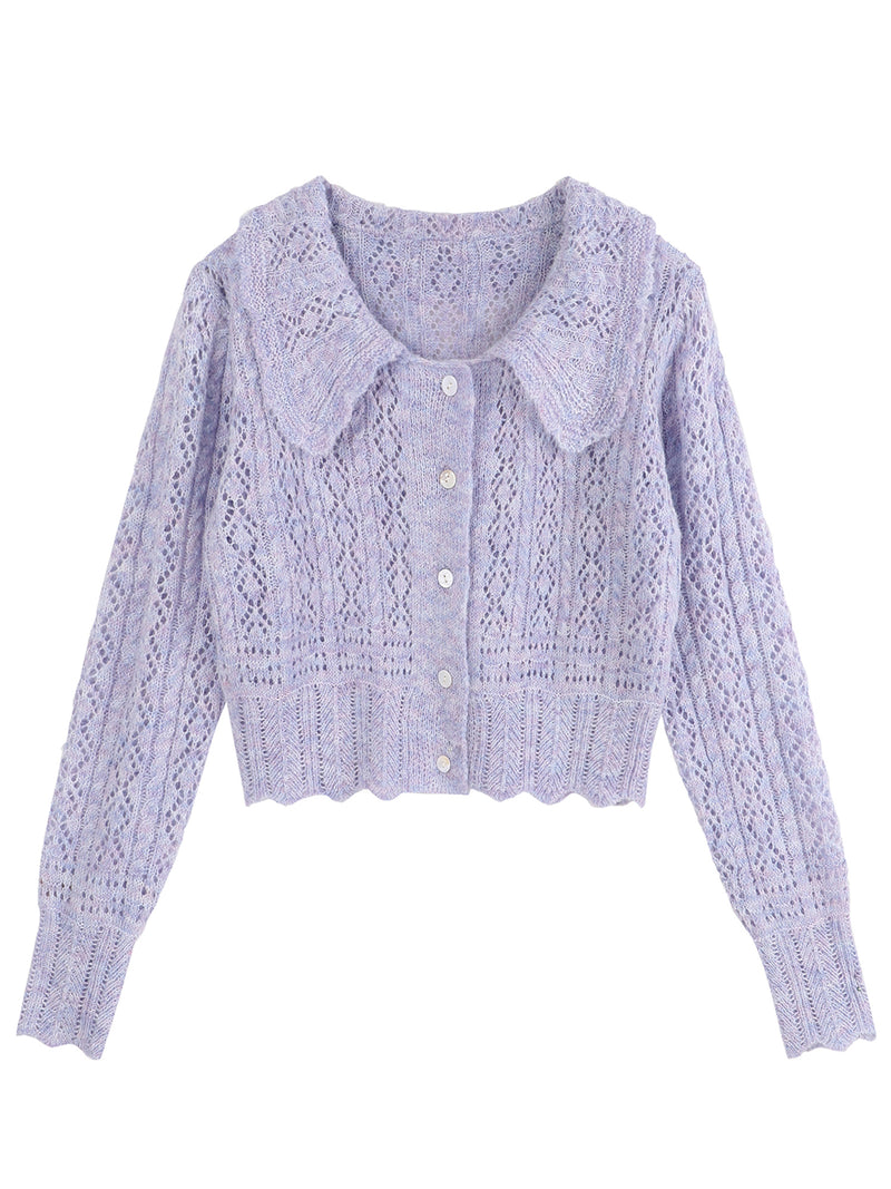 'Eva' Eyelet Pattern Collar Cardigan (2 Colors)