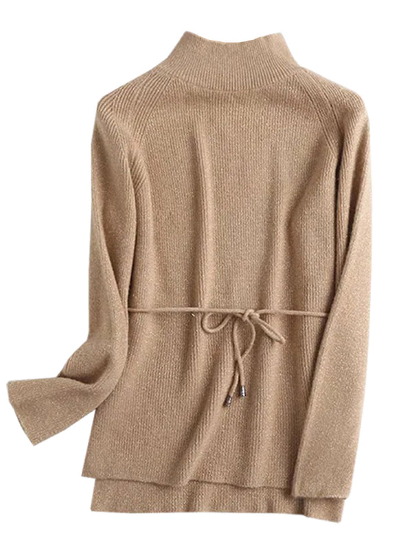 'Trista' High Neck Tied Waist Ribbed Metallic-knit Sweater (4 Colors)