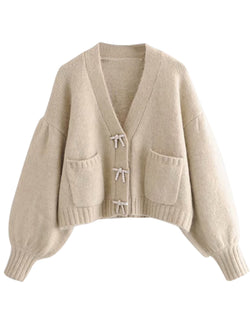 'Kathy' Ribbon Bling Button Balloon Sleeves Cardigan (2 Colors)