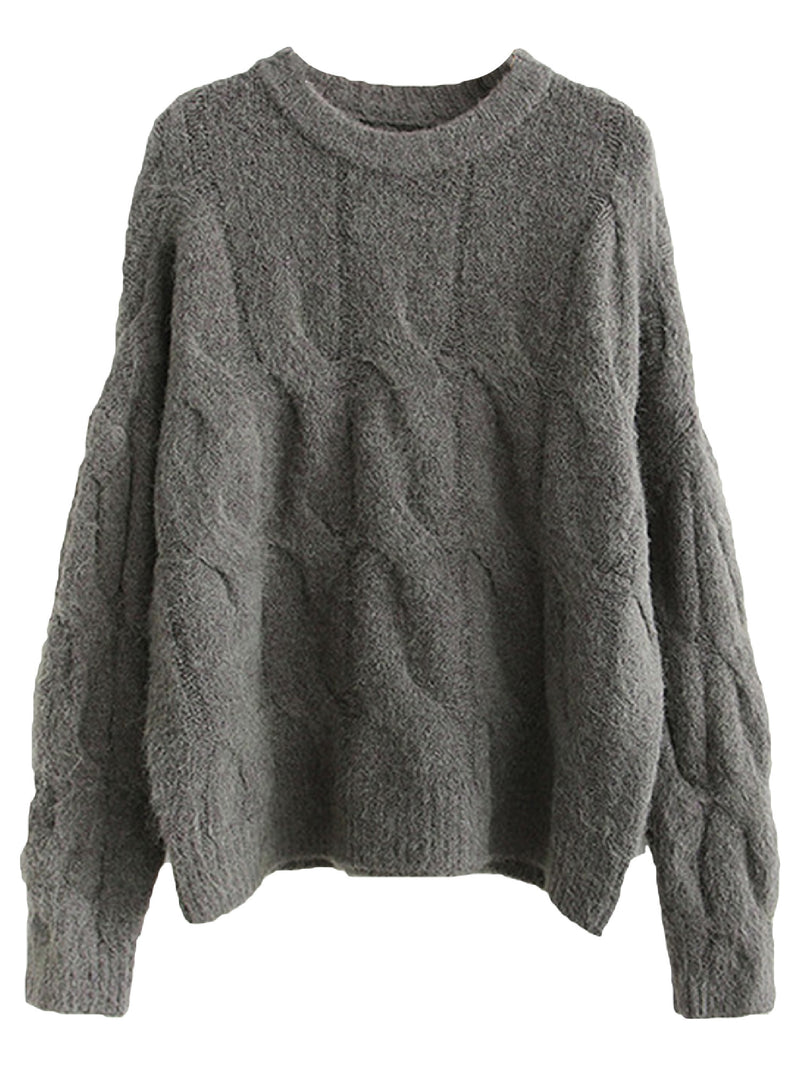 'Zoe' Crewneck Cable Knit Sweater (4 Colors)