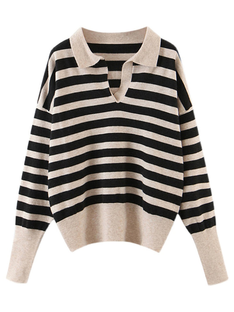 'Brittany' V-neck Striped Polo Knit Sweater