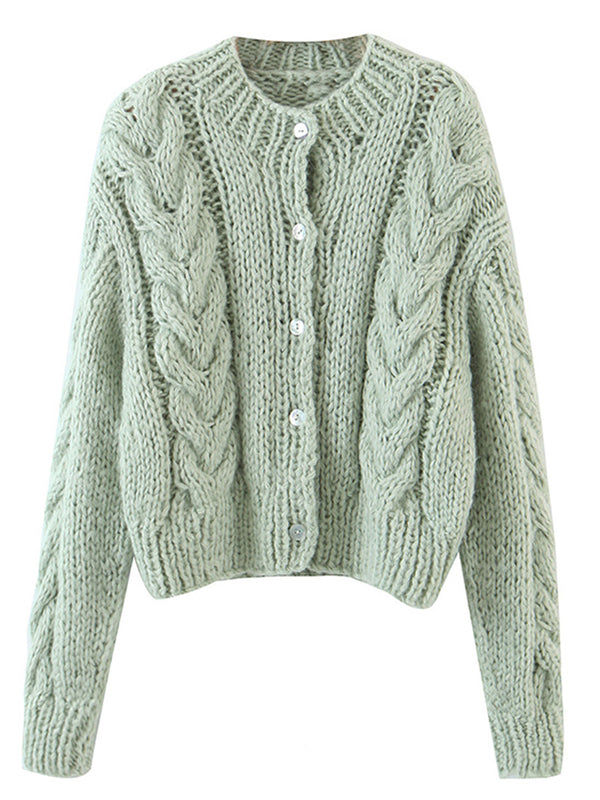 'Isabella' Cable Knit Button Down Cardigan (4 Colors)