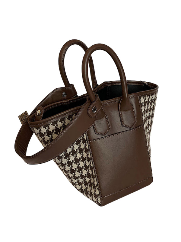 'Sarah' Houndstooth Bucket Bag (4 Colors)