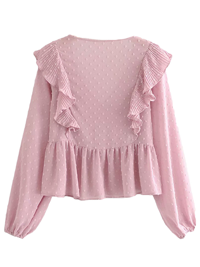 'Malia' Chiffon Ruffled Long Sleeves Blouse