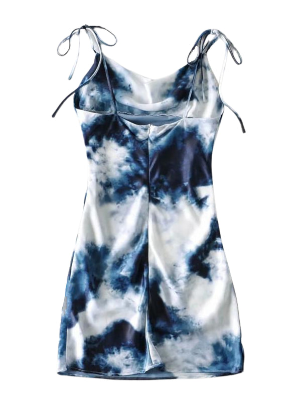 'Alex' Tie Dye Tied Strap Mini Dress
