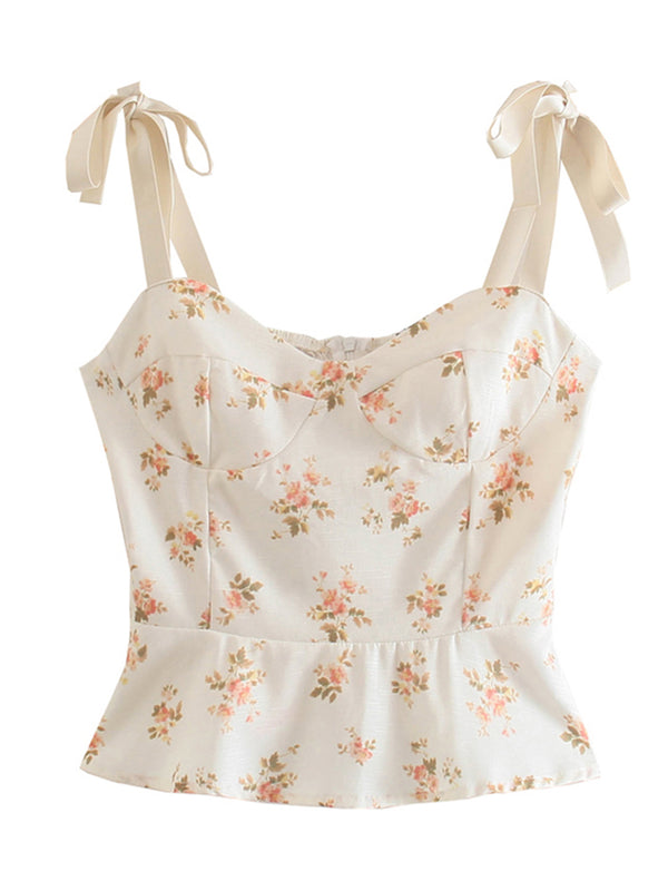 'Alexandra' Floral Printed Tied Strap Top