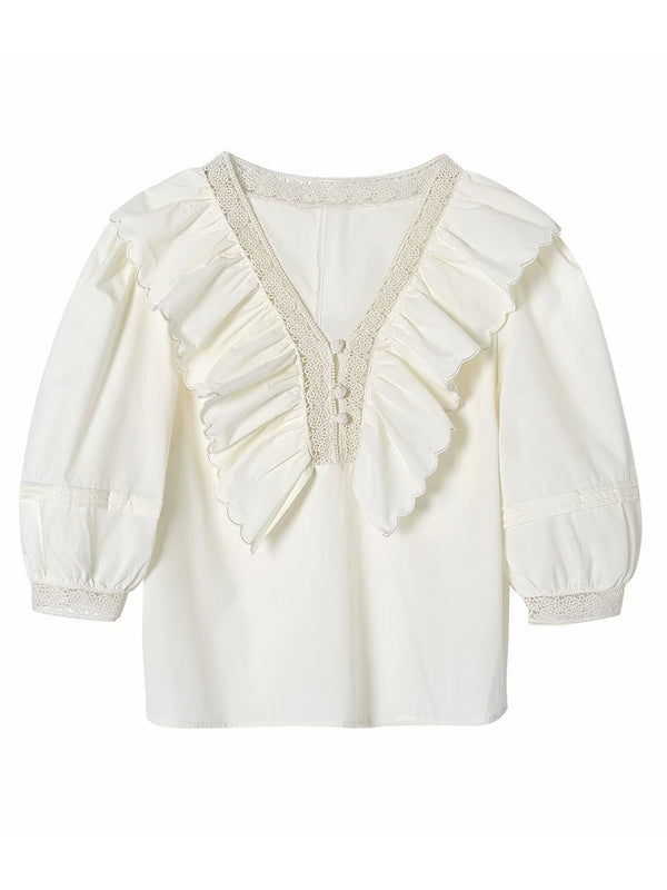 'Sandy' Embroidered Ruffled Collar Top