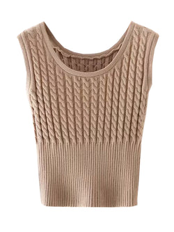 'Carissa' Cable Knit  Sleeveless Cropped Top (3 Colors)