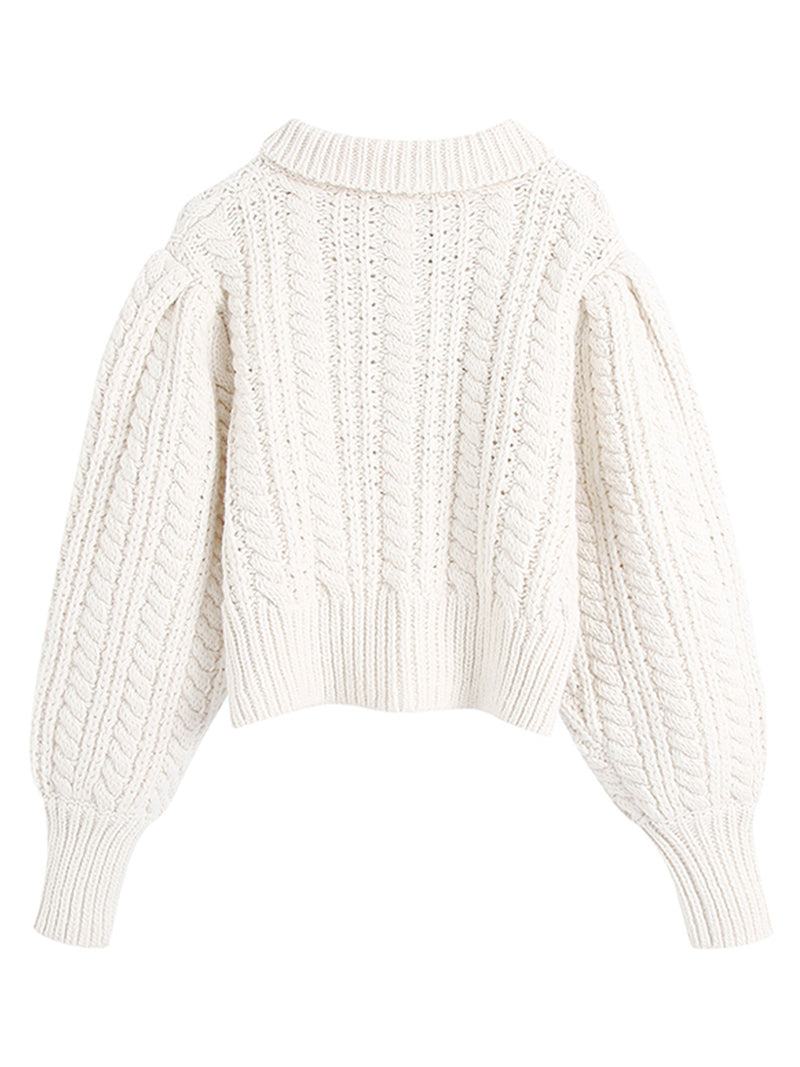 'Stacy' Polo Buttoned Cable Knit Sweater