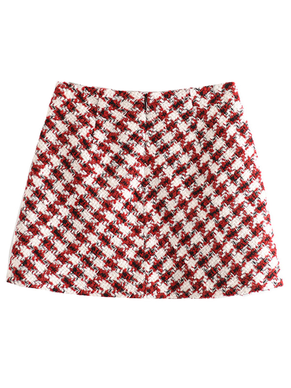 'Misti' Tweed Material Mini Skirt