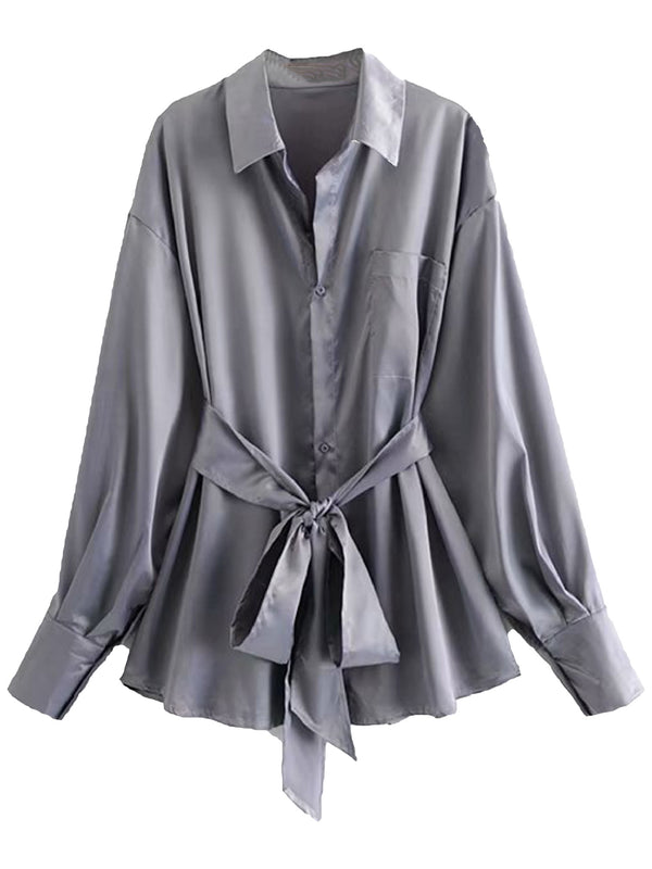 'Alysha' Satin Shirt with Waist Tie (3 Colors)