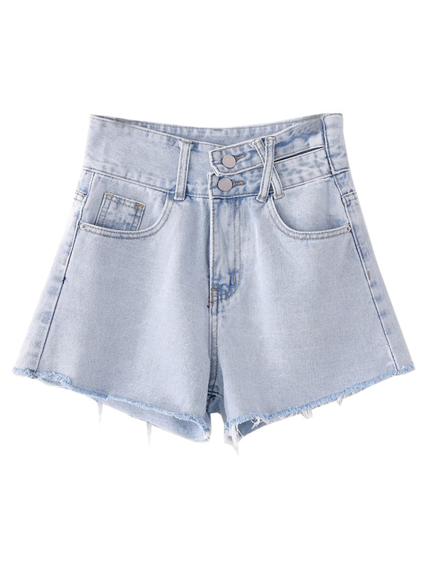 'Addison' Double Button Distressed Denim Shorts