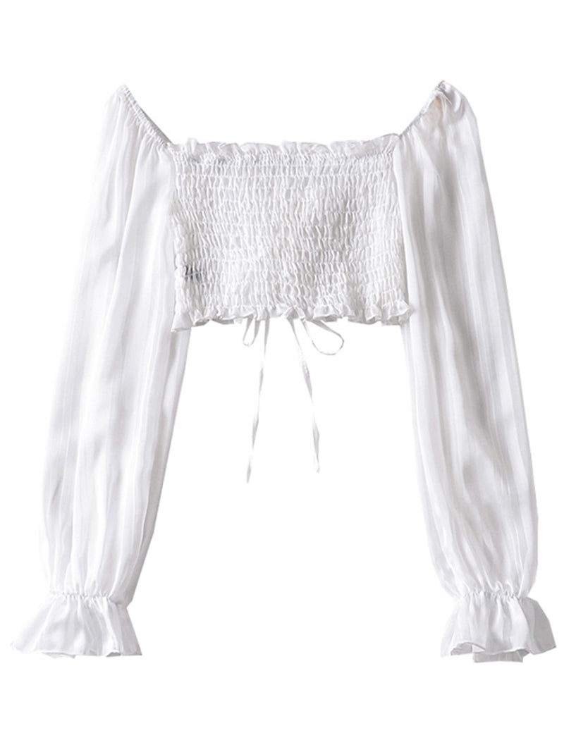 'Katie' Ruched Drawstring Cropped Blouse