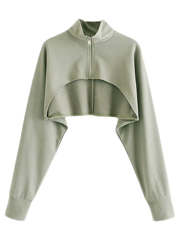 'Pia' Super Cropped Zip-Up Sweatshirt