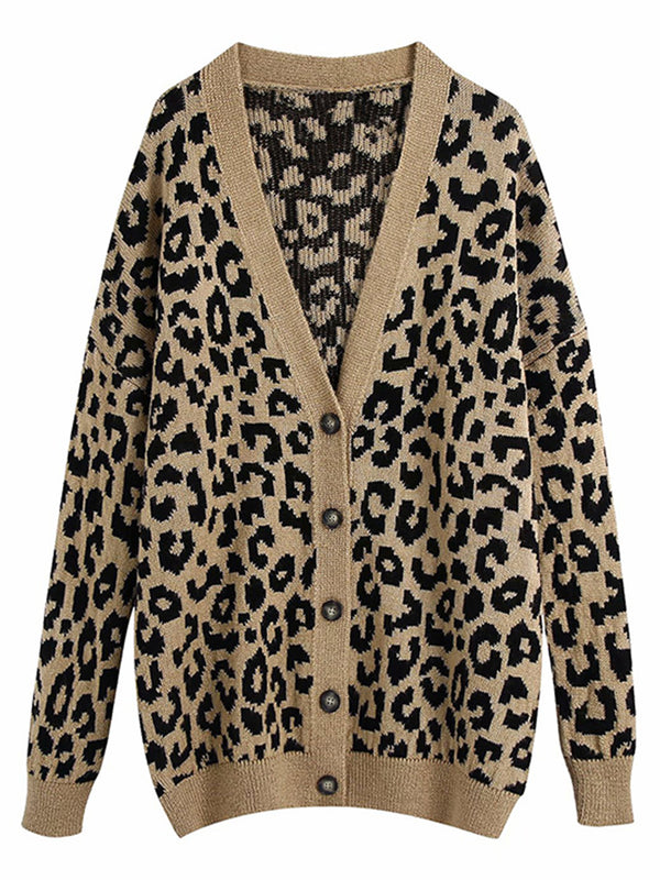 'Aly' Leopard Print Button Down Long Cardigan