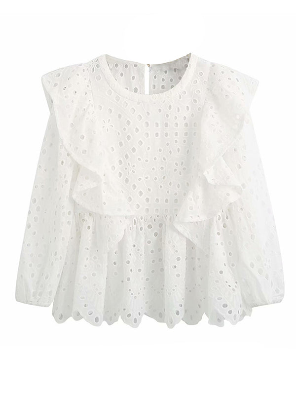 'Norah' Crochet Lace Ruffled Blouse