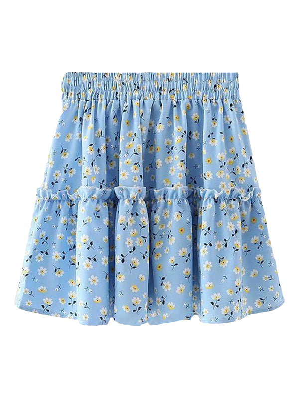 'Stella' Ruched Floral Frill Mini Skirt