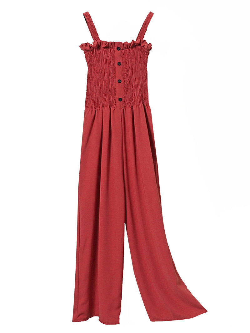 'Ember' Button Front Ruched Wide Leg Jumpsuit (6 Colors)