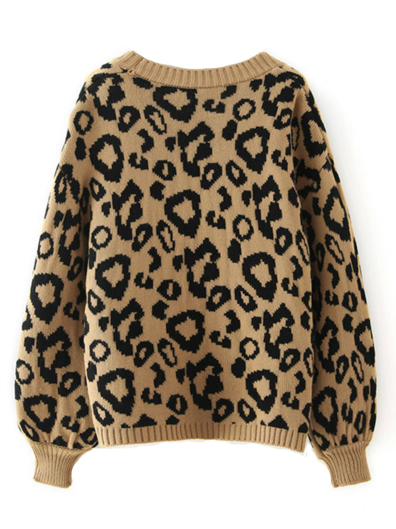 'Piper' Leopard Print Balloon Sleeves Open Cardigan