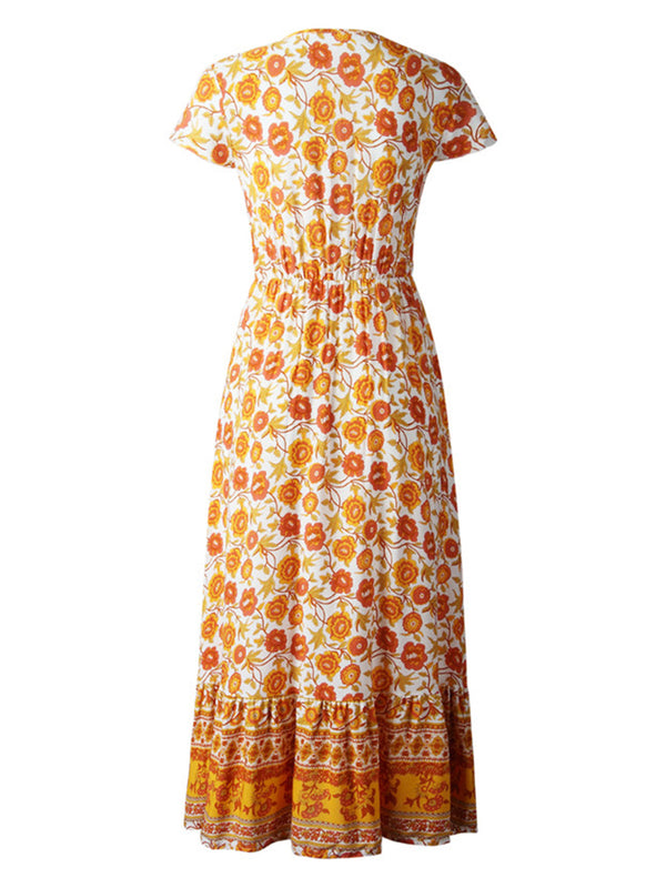 'Ada' Bohemian Floral Print V-neck Maxi Dress