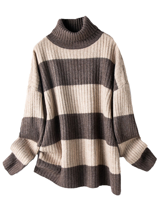 'Sabrina' Turtleneck Striped Sweater (2 Colors)