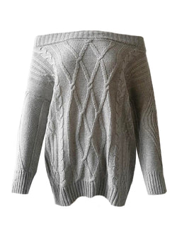 'Tamaki' Cable Knit Off The Shoulder Sweater